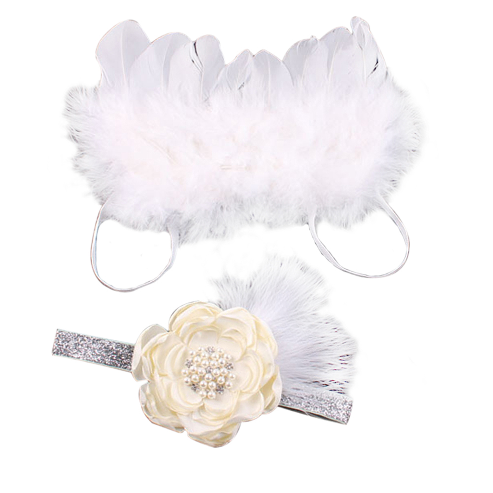 Baby Photography Props Girls Angel Wings Wing Set Feather Newborn Infant Photography Props Headband Hair Accessories New 0-6M