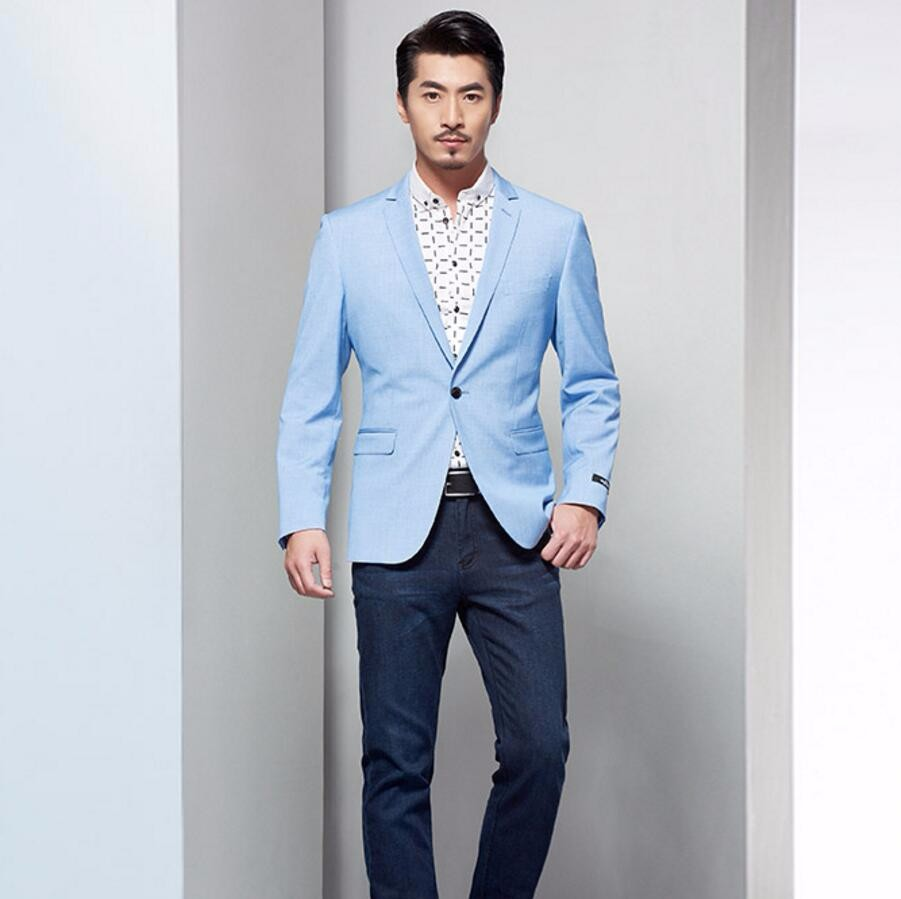 7.1 men blazer light blue wedding groomsmen leisure friends party one button lapel custom-make men jacket