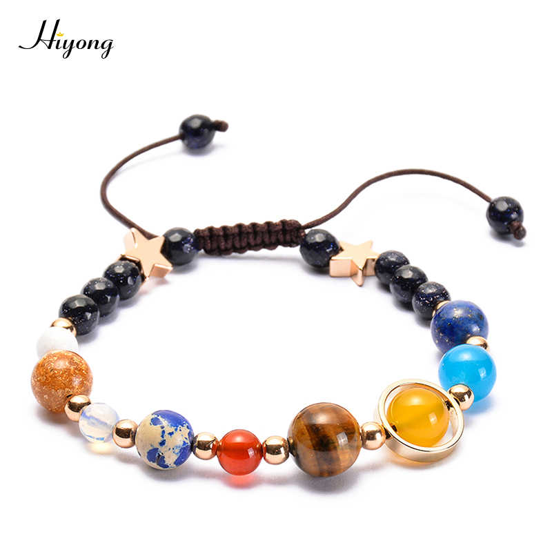 Galaxy Solar System Bracelet Guardian Star Universe Eight Planets Star Natural Stone Beads Bracelets Bangles for Women Men Gift