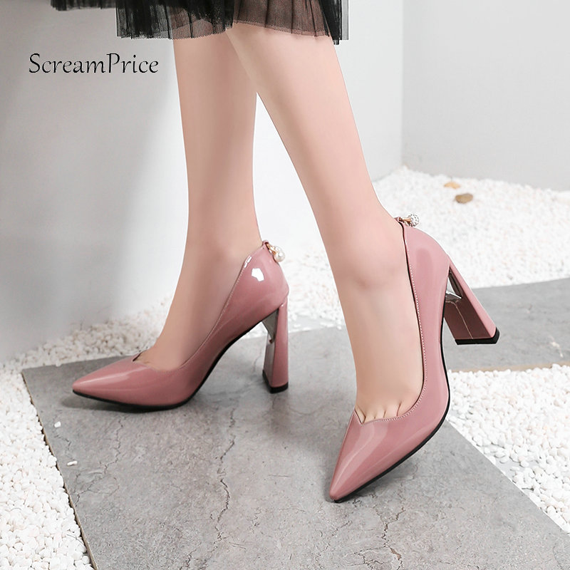 Ladies Square High Heel Pointed Toe Woman Patent Leather Pumps Fashion Shallow Dress Shoes Woman Black Red Pink White