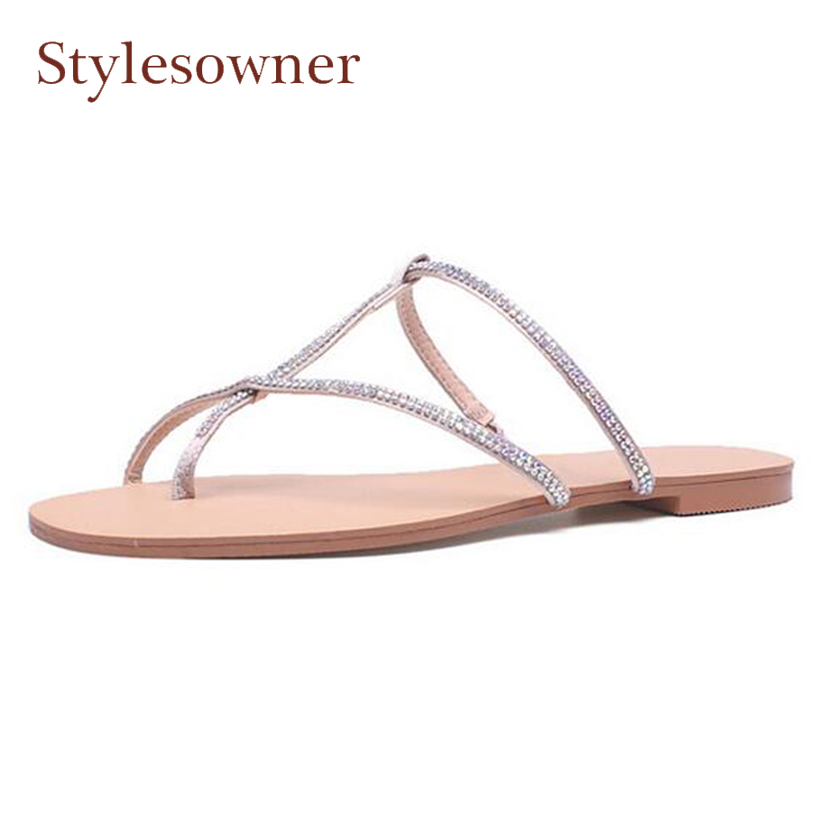 2d3aba822 Stylesowner flip flop shoes women summer slippers crystal embellish narrow  band clip toe casual shoes cozy women beach sandals