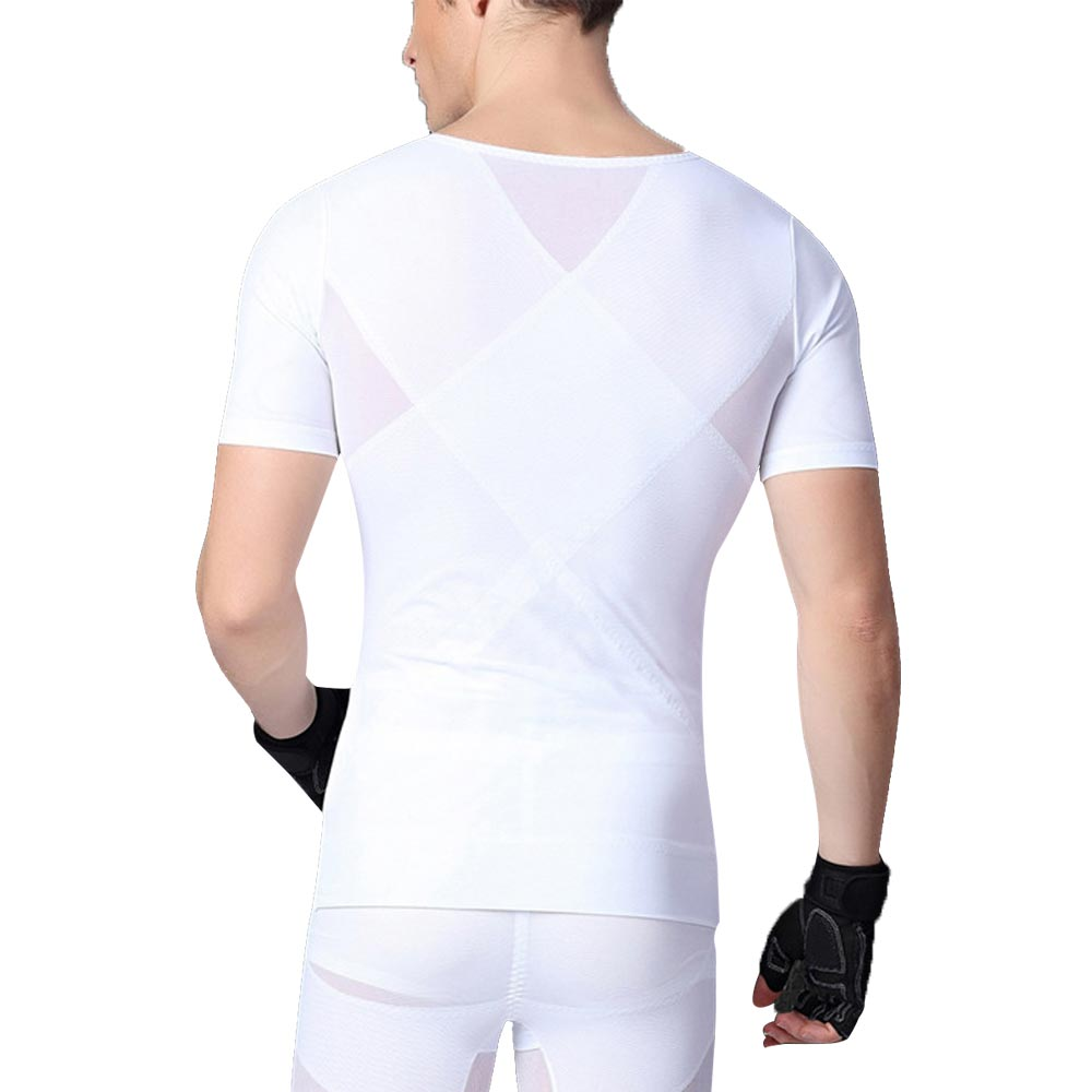 Panegy Mens Bodybuilding Compression Yoga T-shirt for Gym Sports Short Sleeve Fitness Body Shaper Abdomen Belly Belt Sportswear