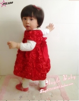 New Autumn High Quality Baby Girl Christening Gown Wedding Red Rose Flower Birthday Dress Newborn Formal