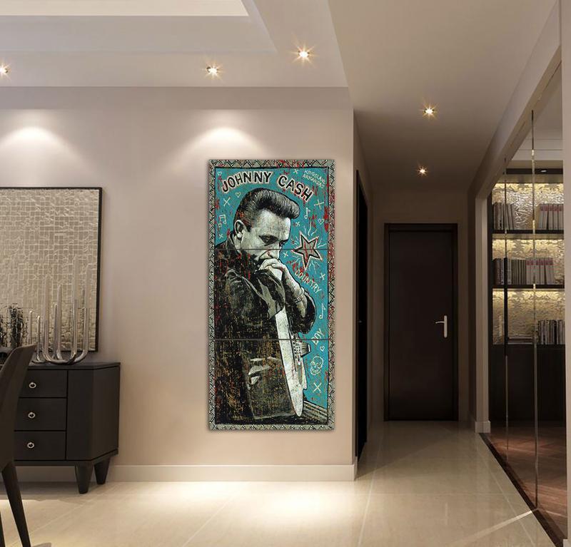 3 unidades Johnny Cash pintura azul alta calidad de la lona HD ...
