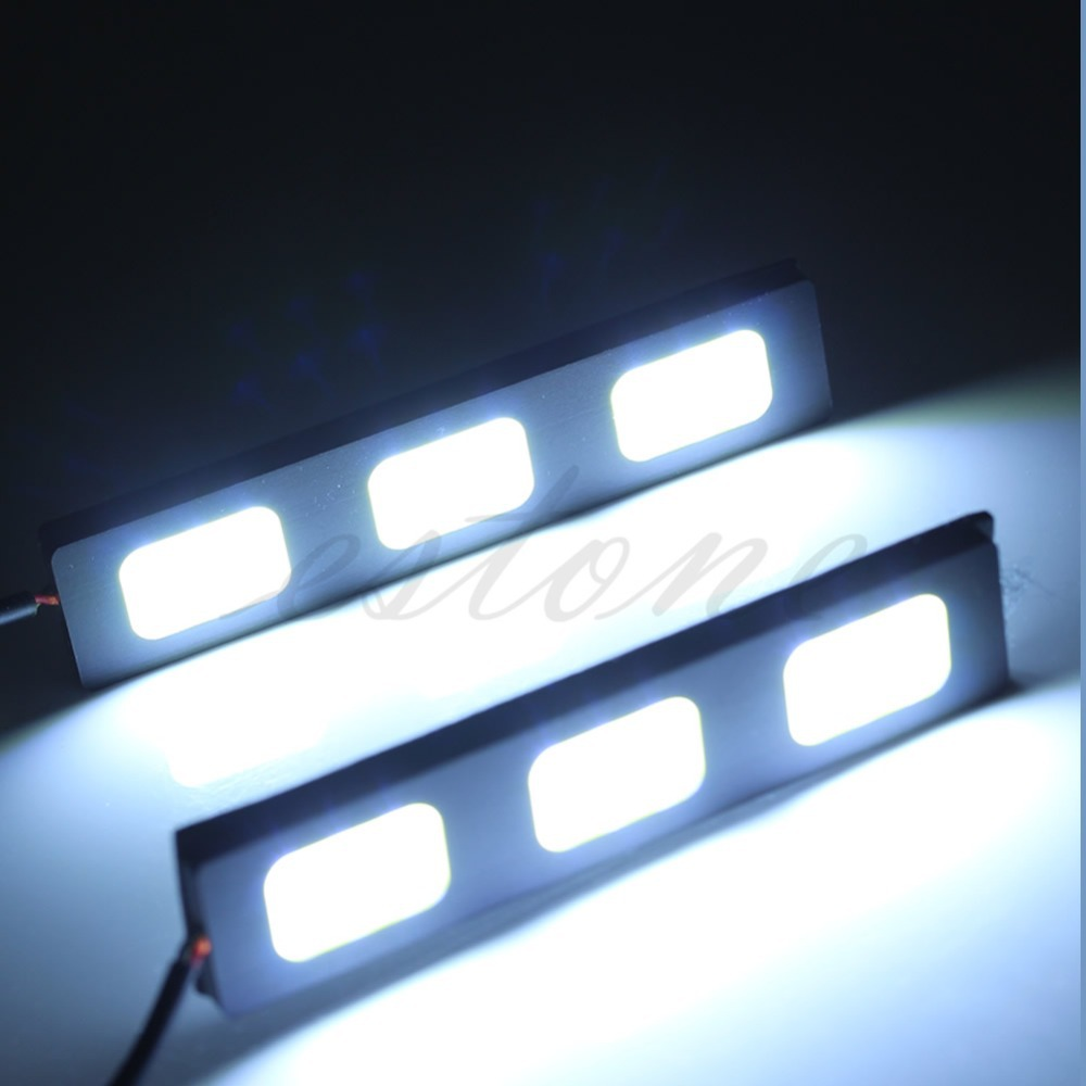1Pair 3-LED COB Car Auto DRL Driving Lamp Daytime Running Fog Light White New Hot 1 pair metal shell eagle eye hawkeye 6 led car white drl daytime running light driving fog daylight day safety lamp waterproof