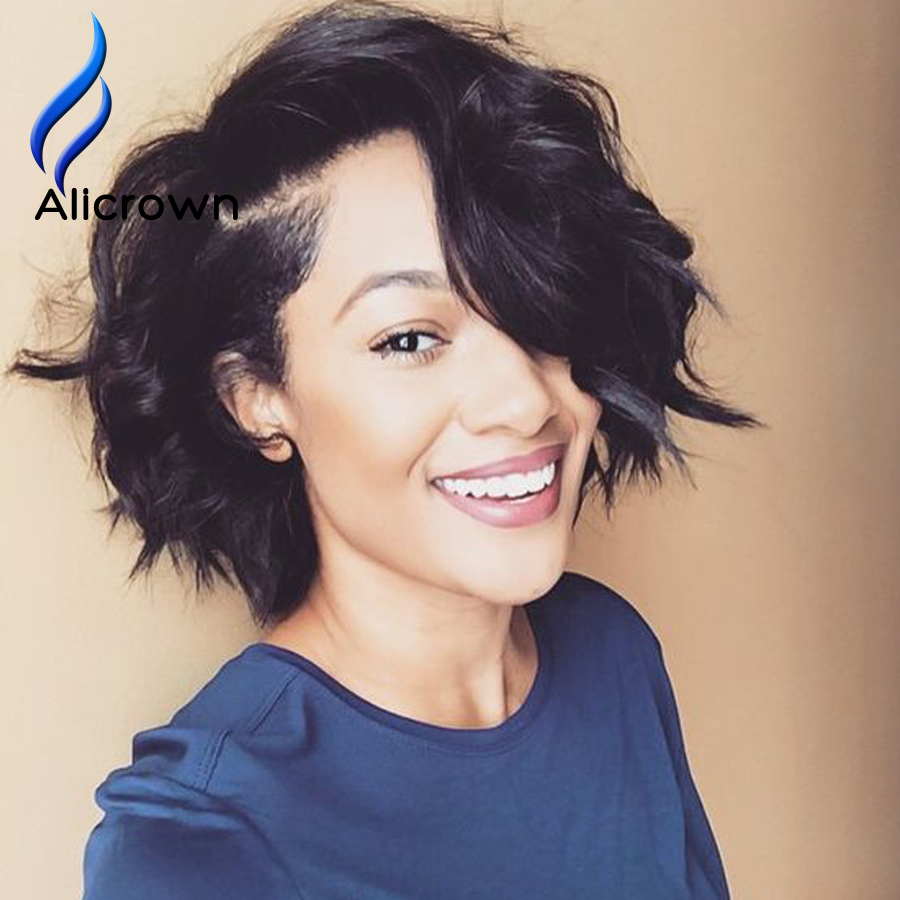 Short Bob Lace Wigs Human Hair For Black Women Glueless Full Lace Wigs Bob Lace Front Wig Human Hair Upart U Part Curly Bob Wigs