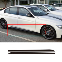 A Pair Matte Gloss Black New Logo M Performance Side Skirt Sticker Body Decal 5D Carbon