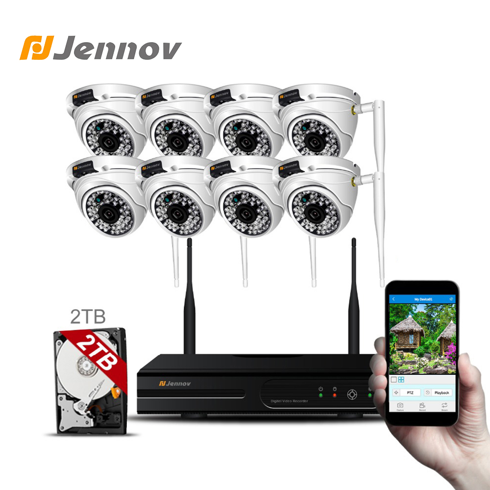 Jennov 8CH Video Surveillance Kit Wifi CCTV NVR Wireless Security Camera System CCTV System 1080P HD 2MP Dome Night View IR-CUt full hd 8ch 1080p wireless nvr cctv system 2mp 1080p wifi ip camera waterproof day night security camera video surveillance kit