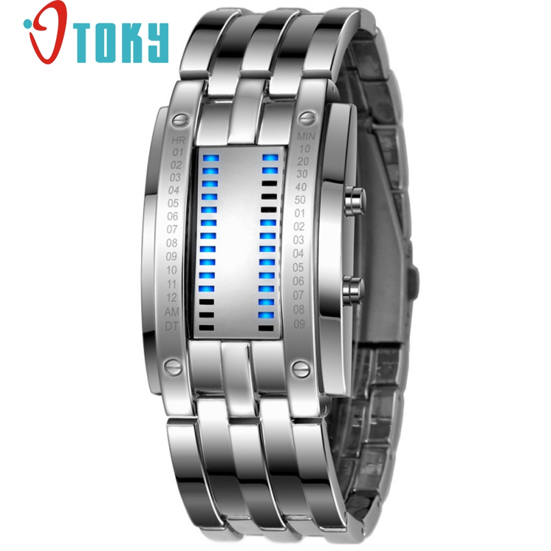 Excellent Quality Luxury Waterproof LED font b Electronic b font Women Stainless Steel Watches Blue Binary