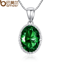 BAMOER Hotsale High Quality4 Colorful Stones Women Platinum Plated Necklace Adjustable Chains For Party Gift YIN052-GN
