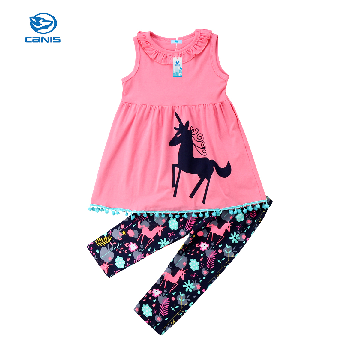 2018 Brand New Toddler Infant Kids Baby Girls Unicorn Flower Clothes T-shirt Top Dress Long Pants 2Pcs Set Summer Cartoon Outfit fashion 2pcs set newborn baby girls jumpsuit toddler girls flower pattern outfit clothes romper bodysuit pants