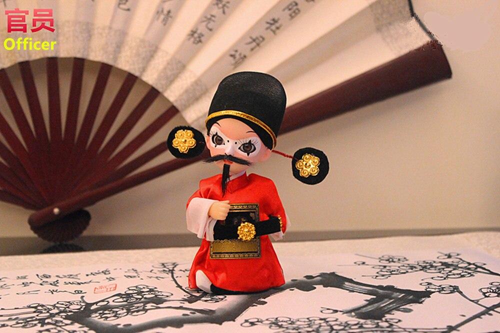 Figurine en soie de style chinois Q version officier 2 poupées d'opéra de pékin artisanat cadeau Z001