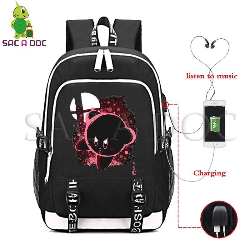 Kirby Meta rycerz T fluorescencji plecak kobiety mężczyźni USB wielofunkcyjne ładowania laptopa plecak dla nastolatków plecaki szkolne w Plecaki od Bagaże i torby na  Grupa 1