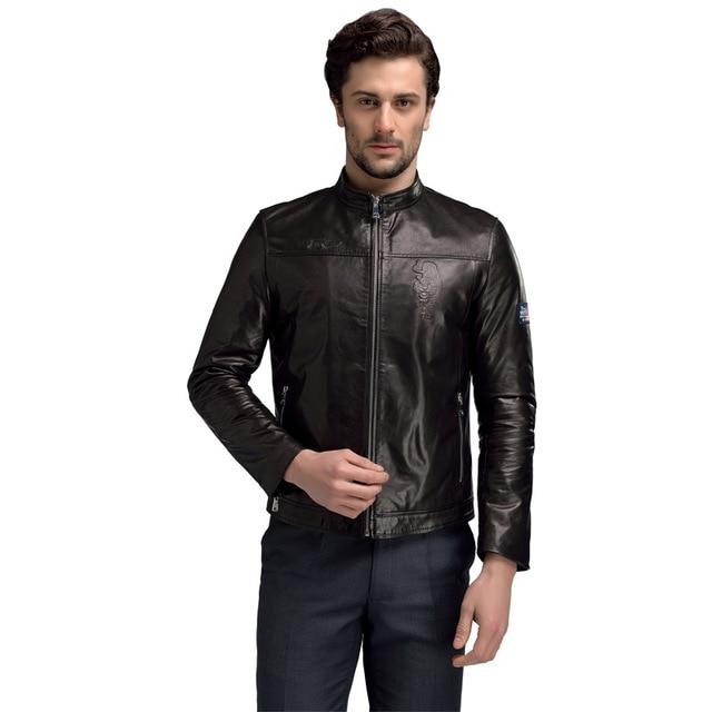 100% Hombres de la Chaqueta de Gamuza de Cuero de piel de Cabra Genuina blousen traje de cuir homme Marca Para Hombre Chaquetas de Cuero Y Abrigos de Primavera Puro SD58611