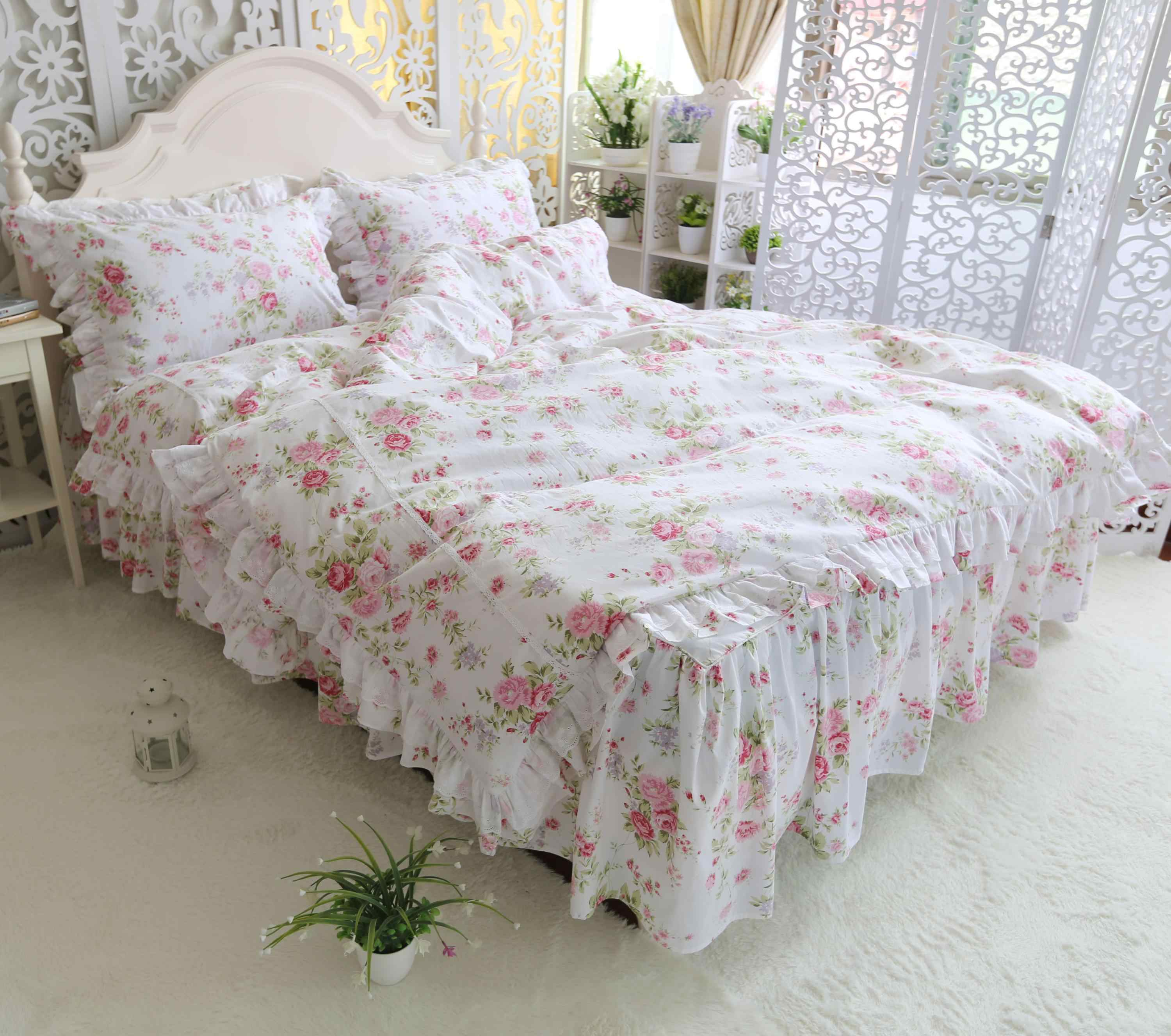 Ruffles Floral Princess Bedding Set 4 Pieces White Colorful Flowers Duvet Cover Bedskirt Set 100 Cotton Ultra Soft All Season Bedding Sets Aliexpress