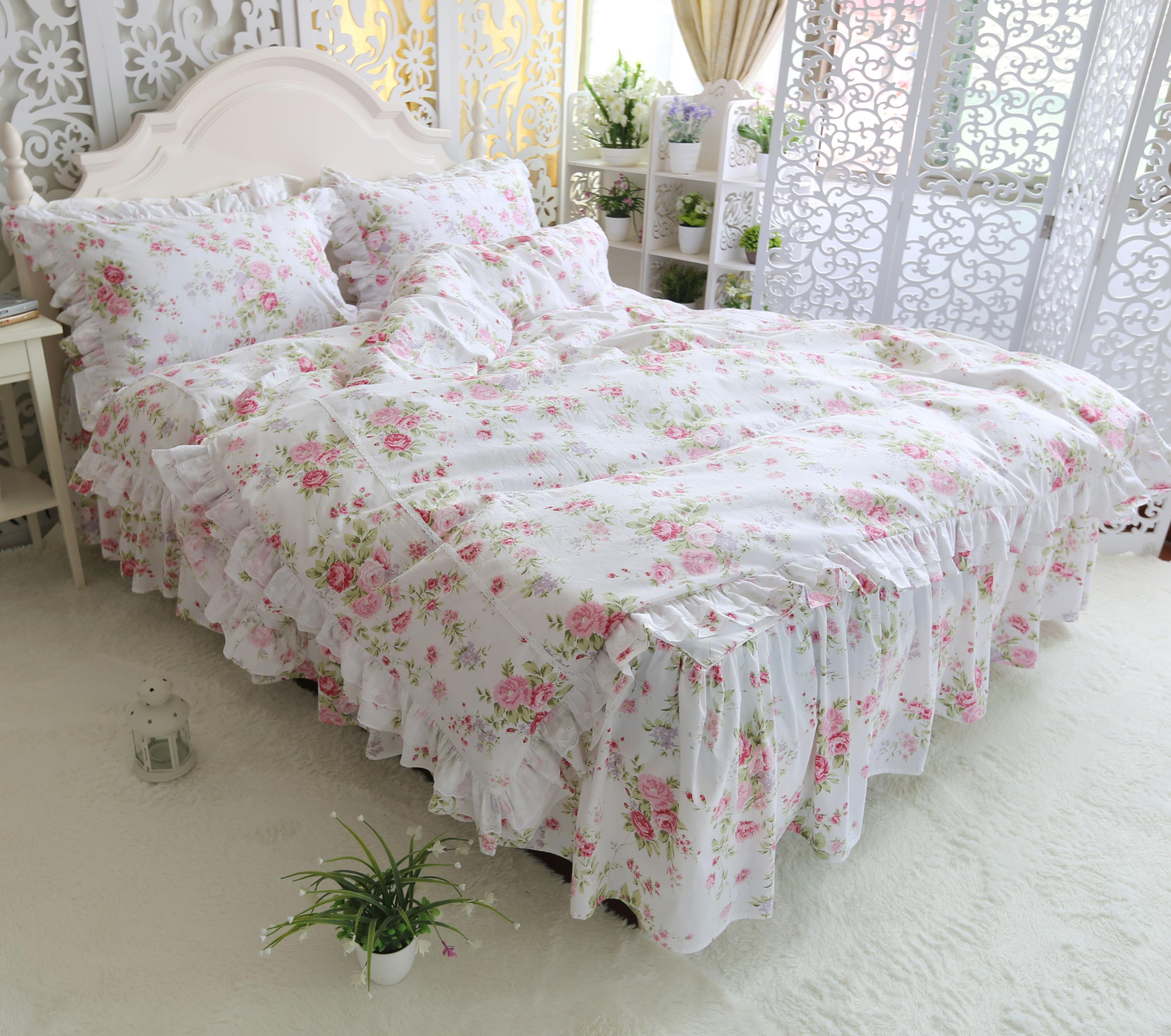 Ruffles Floral Princess Bedding Set 4 Pieces White Colorful Flowers Duvet Cover Bedskirt Set 100%Cotton Ultra Soft All Season