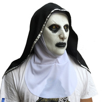 The nun Conjuring 2 Cosplay Props Mask Horror Valak Latex Masks with Headscarf Full Face Halloween Party Gifts