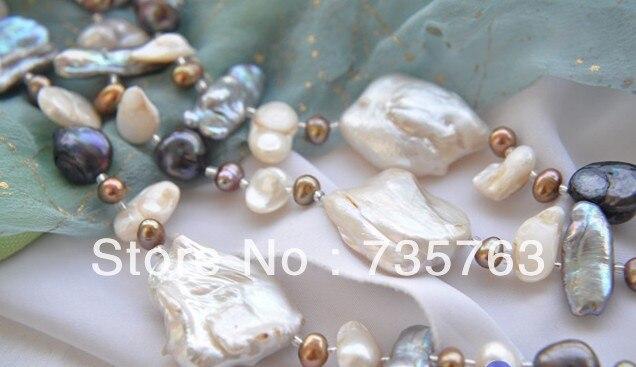 ГОРЯЧАЯ 00683 БОЛЬШОЙ 3row 40 мм белый кеши reborn черный кофе пресной воды жемчужное ожерелье - 4