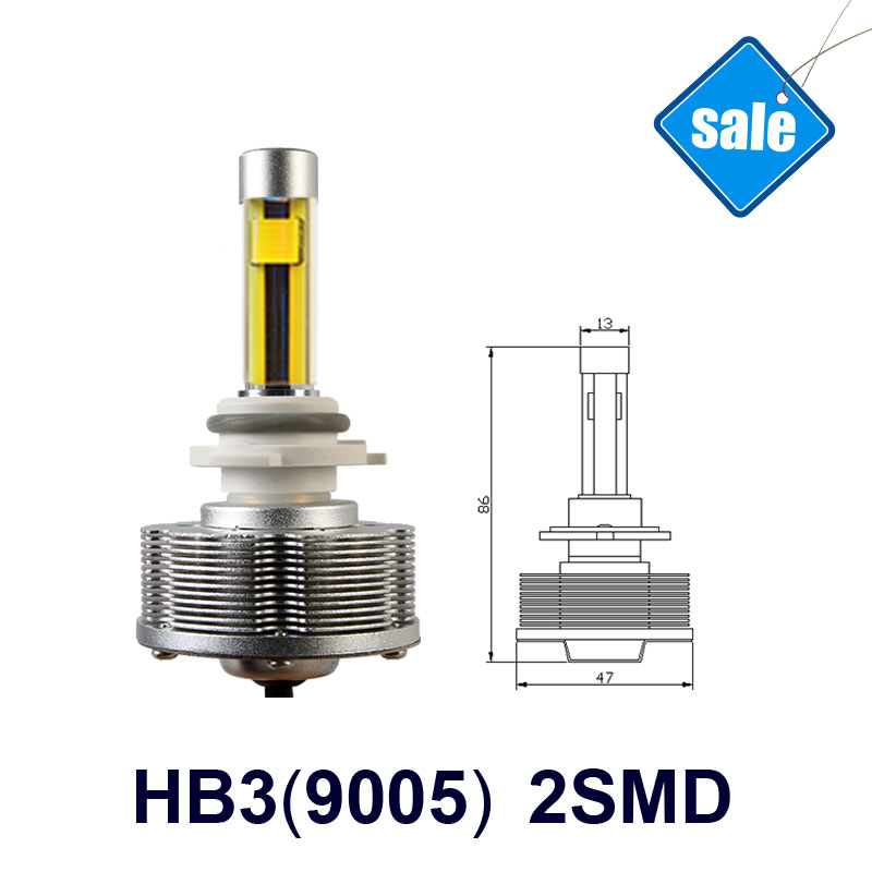 ФОТО HB3 9005 LED Trucks Auto Fog Lamps Car Bulbs Conversion Kit  3000K 20W 2400LM Golden Lights