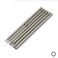 6pcs 150mm Extra Long Hex H2 H2.5 H3 H4 H5 H6 Bit Set 1/4 inch 6.35mm Shank Chrome Vanadium Steel Screwdriver Hollow Bits