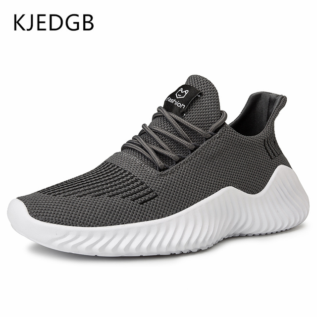 KJEDGB 2019 New Ultralight Men Casual Shoes Solid Black White Gray Breathable Comfortable Sneakers Big Size 39-47 Male Shoes 1