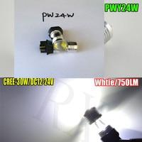 2-Pack Blanc PWY24W PW24W 6*5 W Cree Puces 30 W Led de Lumière de Brouillard De Voiture Ampoules De Rechange Feux de jour lumières