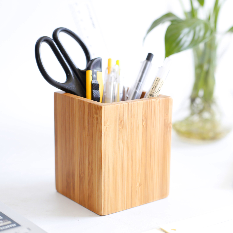 Us 13 08 35 Off Eco Friendly Bamboo Pen Container Creative Modern Style Cosmetic Utensil Storage Box Natural Wood Remote Controller Holder In