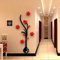 Wazon Śliwki Lustro Akrylowe 3D Naklejki Ścienne Pokój Dzienny Sztuka Tło Naklejki Ścienne DIY Home Decor Naklejki Ścienne Kwiat Mural