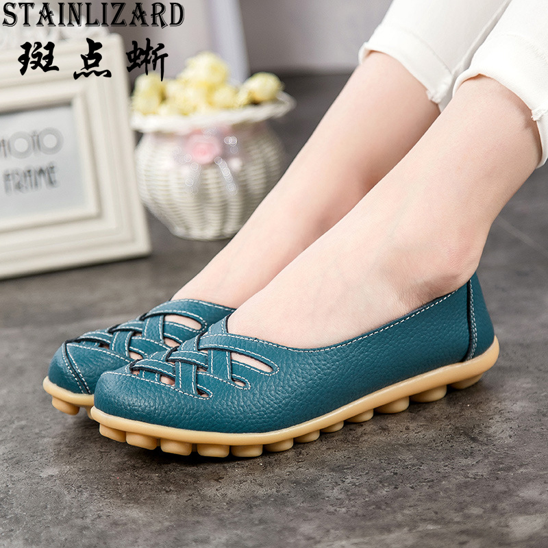 2017 Autumn Fashion Real Leather Women Flats Moccasins Comfortable Summer Ladies Shoes Cut-outs Loafers Woman Casual Shoes ST181 2017 autumn fashion real leather women flats moccasins comfortable summer ladies shoes cut outs loafers woman casual shoes st181