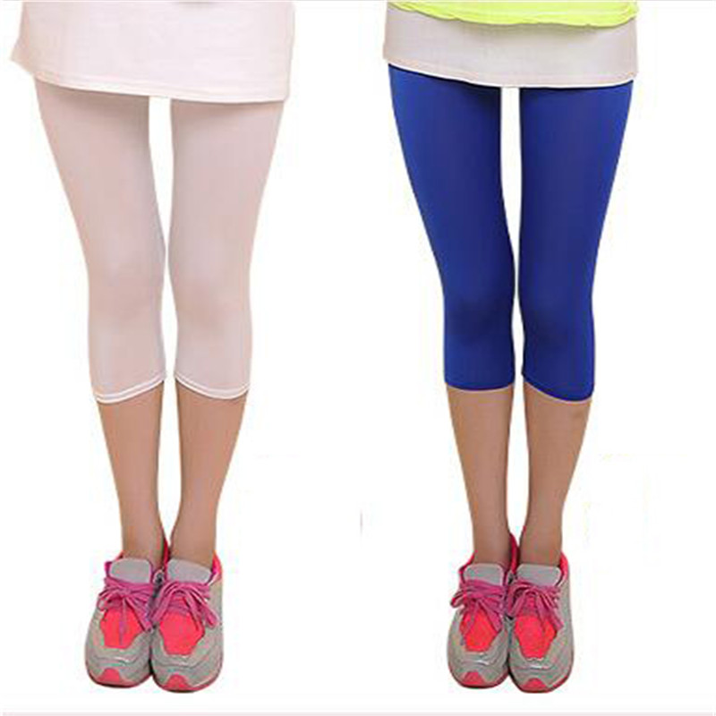 Image 3 - New Soft Solid Candy Color Women Summer Leggings High Stretched High Quality Fitness Clothing Cropped Trousers Women Accessory-in Leggings from Women's Clothing