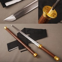 Rosewood Round Handle Folded Steel Chinese Sword Straight Blade Knife Vintage Home Metal Decoration