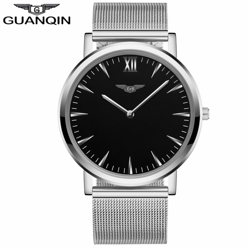 ФОТО GUANQIN GS19056 Bauhaus Milan New Fashion Men's Ultra Thin Quartz Watches Men Luxury Brand Business Clock Stainless Steel