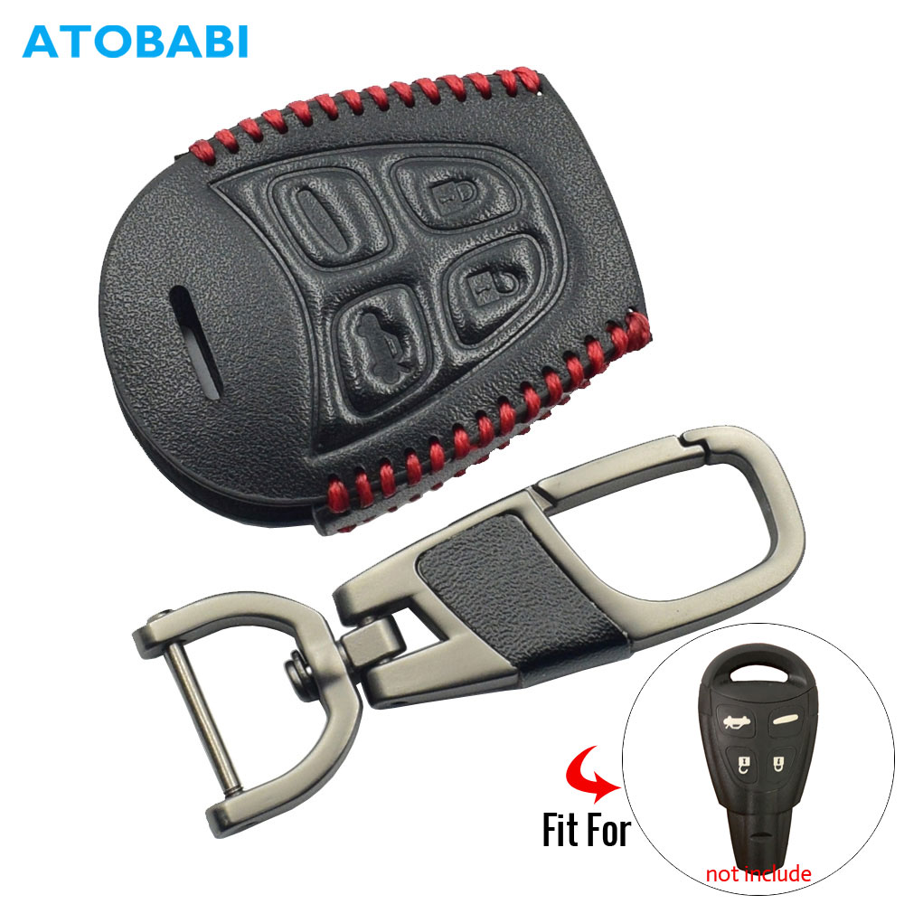 Leather Car Key Case For SAAB 9-3 9-5 93 95 2003-2011 4 Buttons Smart Remote Fob Protector Cover Keychain Bag Auto Accessories