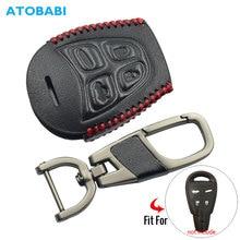 Кожаный чехол для ключей для автомобиля SAAB 9-3 9-5 93 95 2003-2011 4 кнопки умный пульт дистанционного управления чехол для ключа чехол сумка для ключей автомобильные аксессуары