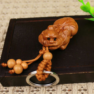 Pi Xiu Foo Dog Statue Wood 3D Carving Chinese Wealth Sculpture Keyring Key Chain