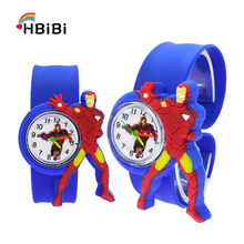 Cartoon Iron man Child Watch Super hero Children Clock Kid Quartz Waterproof