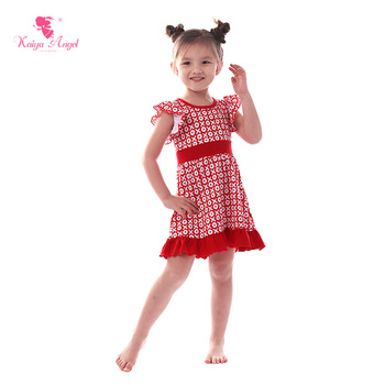 Kaiya Angel 2018 Valentine's Day Dress For Girl Birthday Party Dress Toddler Baby Girls Wholesale Red and White Neat Rows XO