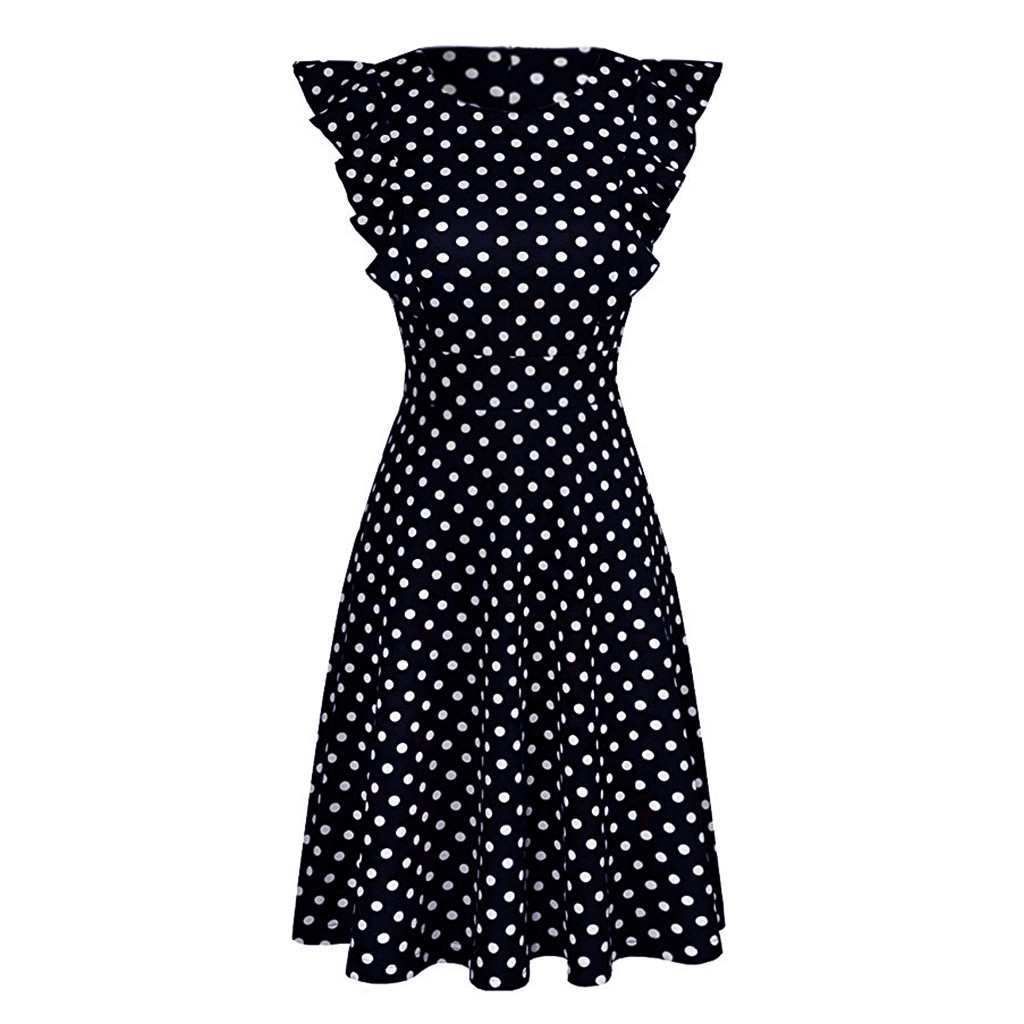 Sleeper #401 19 NEW FASHION Women Vintage Dot Printed Ruffle Sleeveless Casual Cocktail Party Dresses casual hot Free Shipping 9
