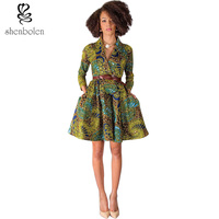 Spring Autumn Summjer 2016 Fashion African Dresses For Women Clothing Ankara Wax Batik Print Long Sleeve