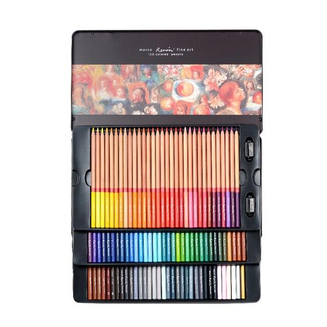 Marco Renoir 24/36/48/72/100 Colors Pencil Set lapices de colores profesionales Crayons Colouring Drawing Pencils Set Wholesale