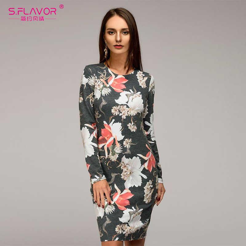 S. FLAVOR модное женское тонкое платье 2018 с длинным рукавом элегантное платье длиной до колена с принтом сексуальное облегающее вечернее зимнее платье