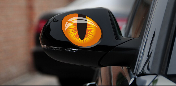 Hot selling 2 PCS 12cm*10cm car styling moulding reflective cat eyes 3D vinyl decal car head rearview mirror windows stickers