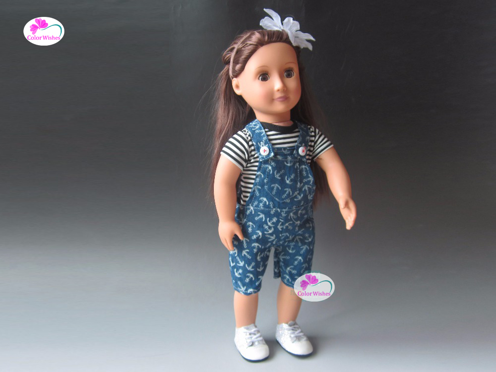 clothes for dolls fits 43 cm Baby Born zapf doll Black and white striped T-shirt + strap pants new sexy vs045 1 6 black and white striped sweather stockings shoes clothing set for 12 female bodys dolls