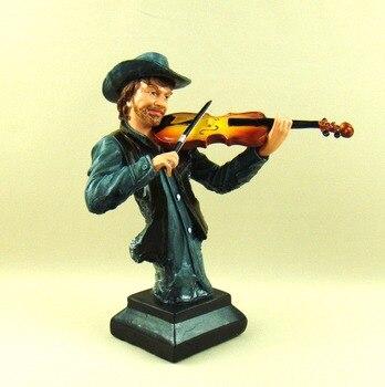 Abstract Club Violin Player Bust Sculpture Handmade Polyresin Fiddler Figurine Music Decoration Craftworks Ornament Present 1