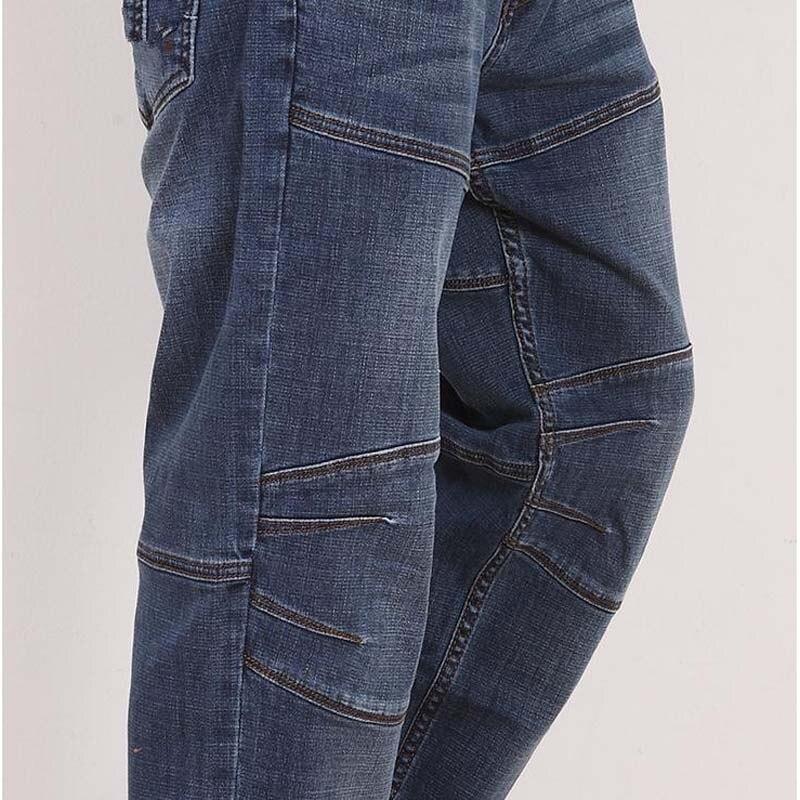 Autumn Winter New Straight Leisure   Jeans   Men's Loose Elasticity Splice Cowboy Denim Trousers Man   Jeans   Bottoms Plus Size 46 48