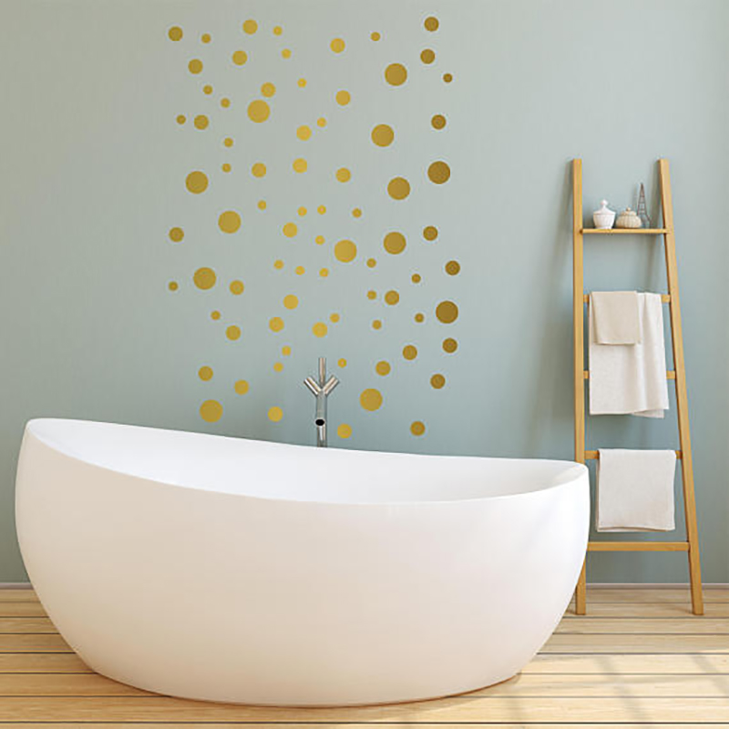 Image 2 - Gold Polka Dots Wall Sticker Baby Nursery Stickers Children Removable Wall Decals Home Decoration Art  Vinyl Wall Art P5 B-in Wall Stickers from Home & Garden