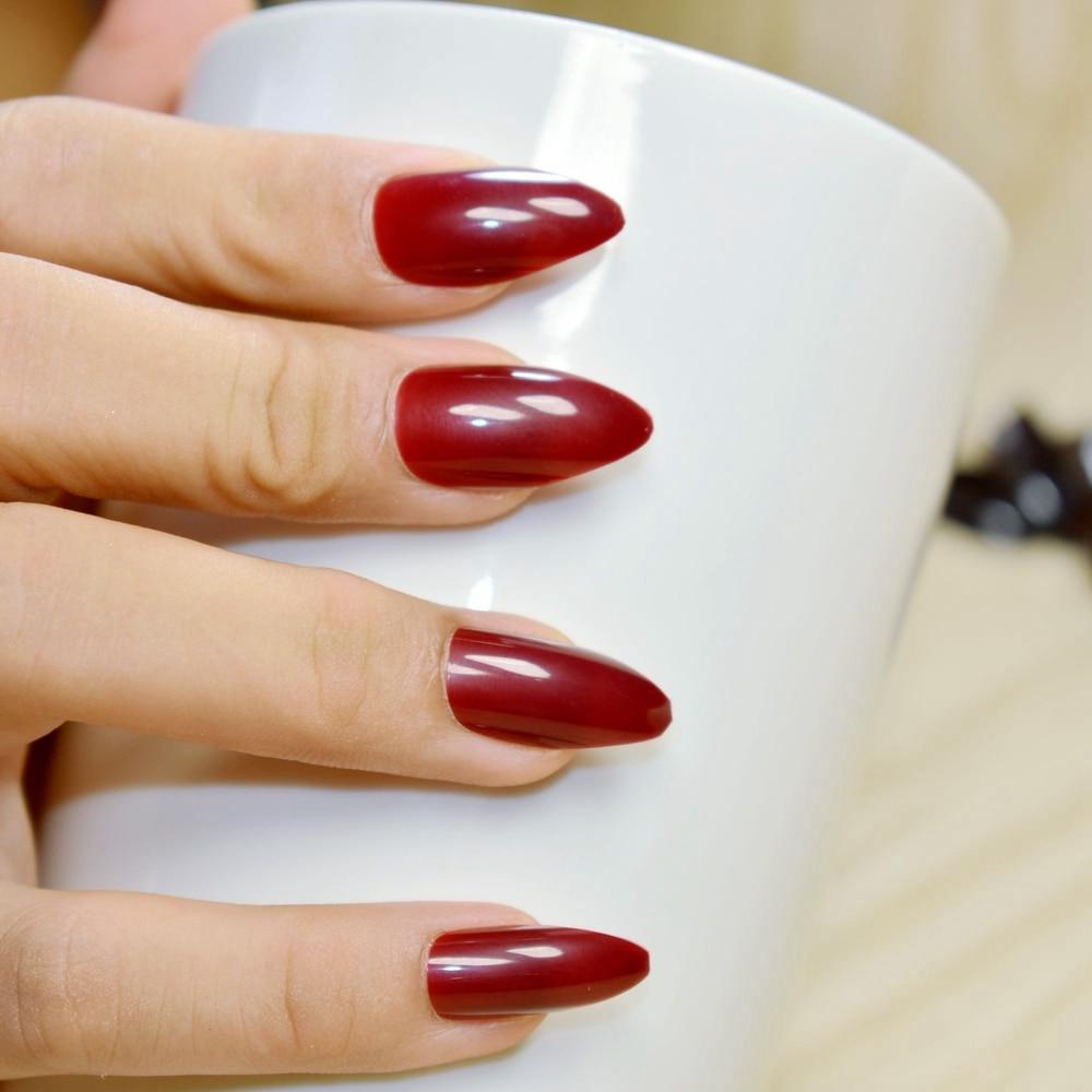 Online Shop Pure Dark Red Wine Acrylic Press On Nails Waterdrop ...