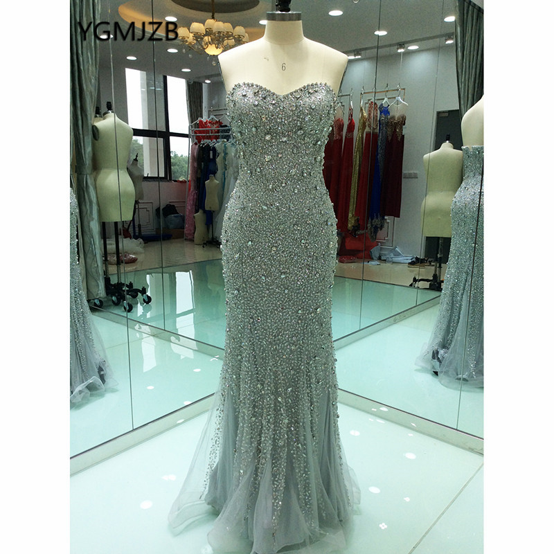 Luxury Mermaid   Evening     Dresses   Long 2019 Beaded Crystal Sleeveless Silver African Women Formal Prom   Evening   Gowns Robe De Soiree