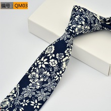 NiniRusi 6cm Vintage Floral Cotton Ties for Men Wedding Navy Blue Tie Slim Gravatas Corbatas Fashion Casual Printed Necktie