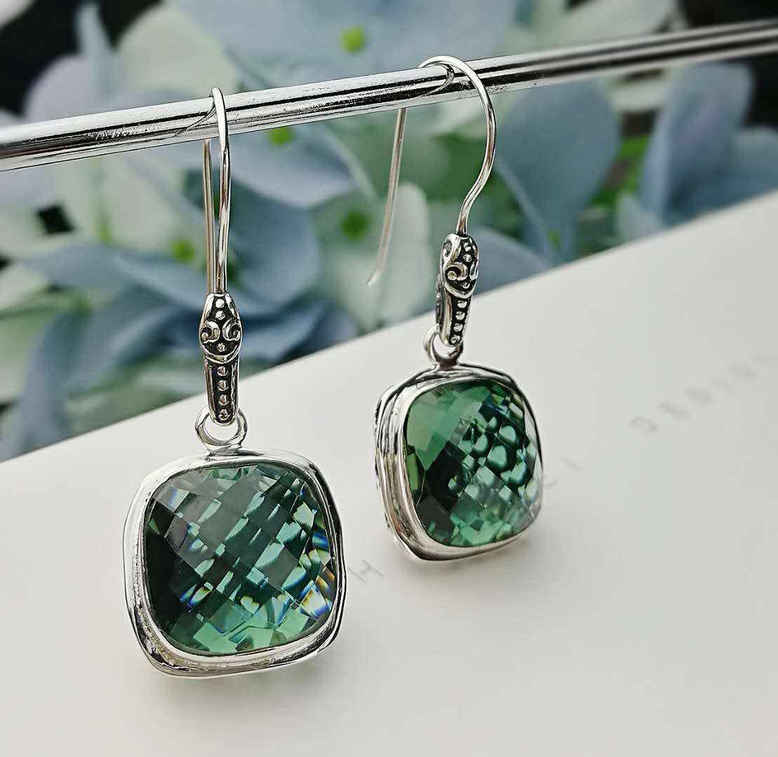 купить hollow out original green square section of Thai silver crystal earrings silver restoring ancient ways fashion earrings недорого